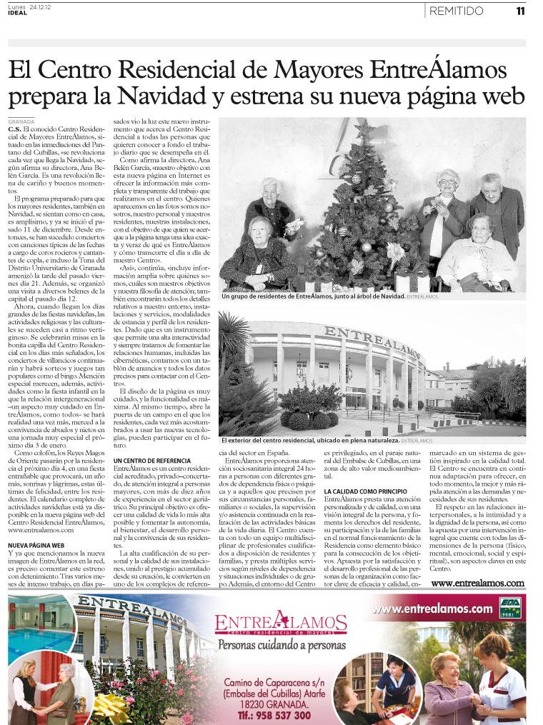 IDEAL de Granada (Lunes 24-12-12) menciona el Centro Residencial de Mayores EntreÁlamos