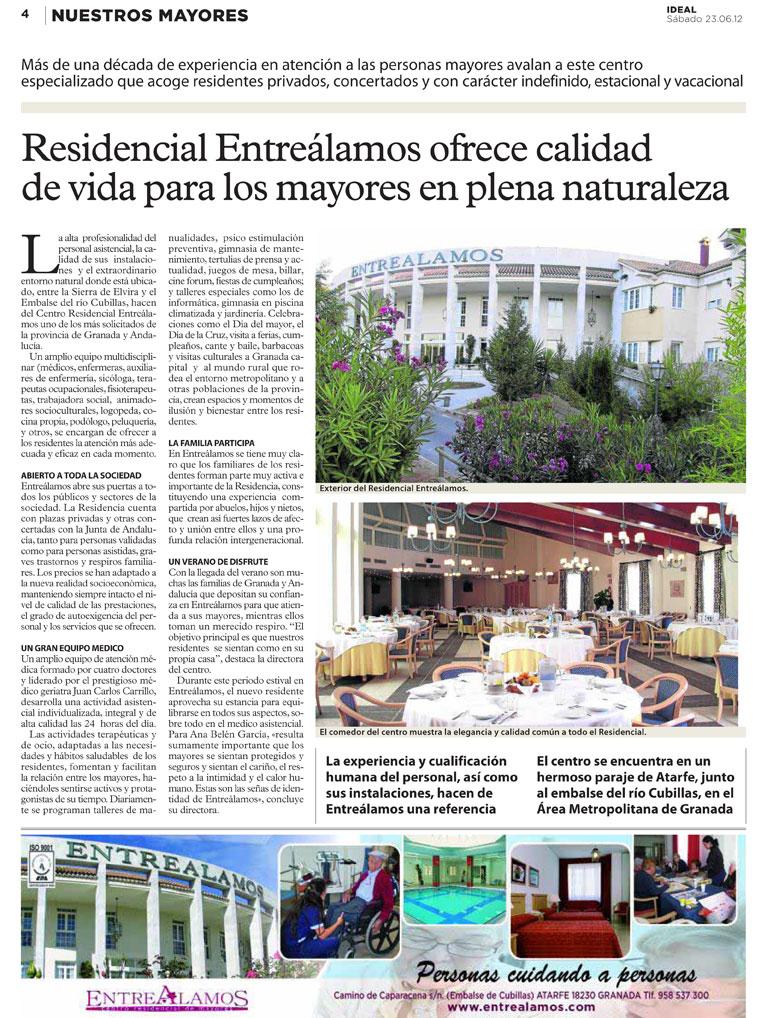 Artículo publicado sobre EntreÁlamos en el Ideal de Granada 23-06-12