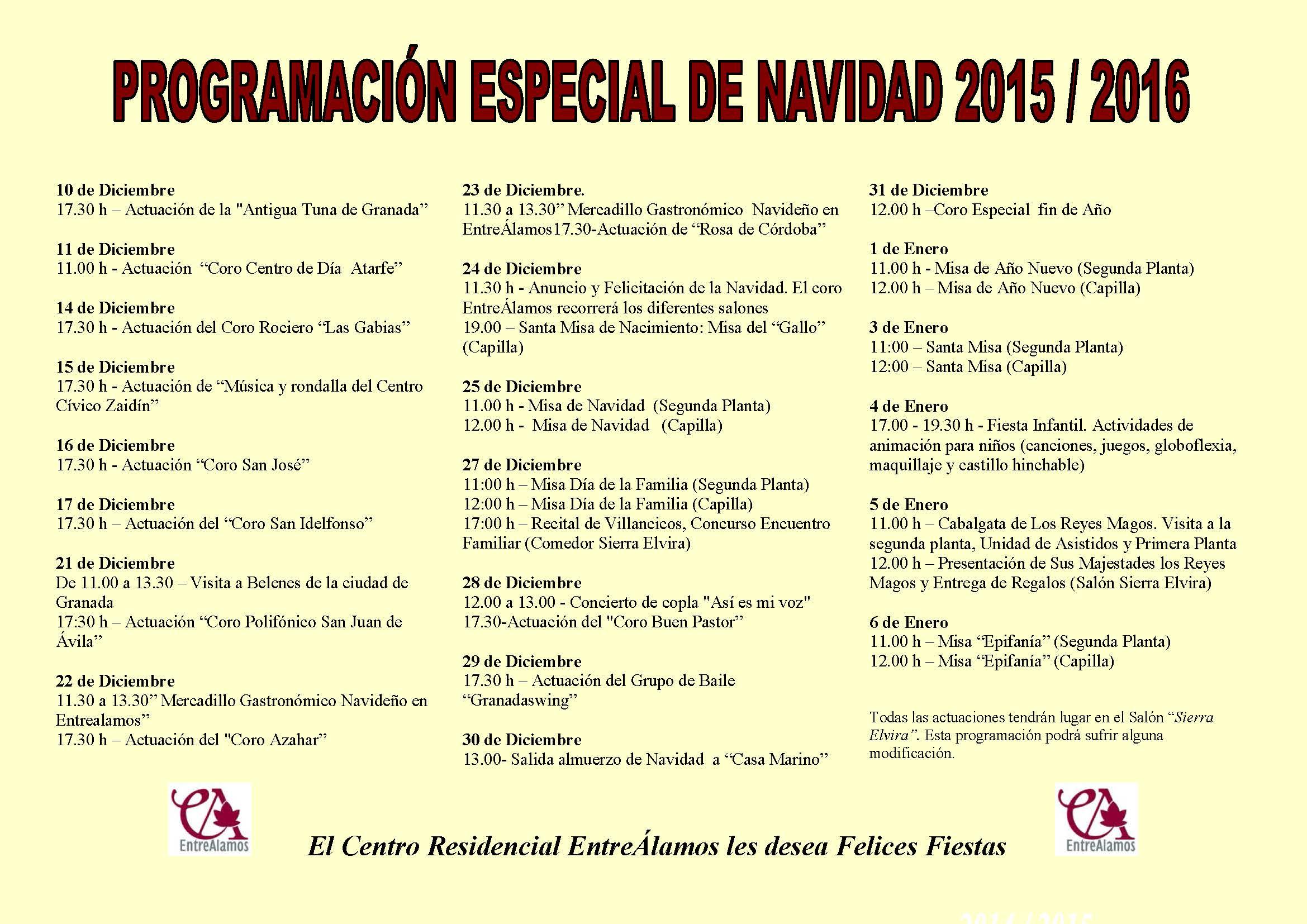 CARTEL PROGRAMACION DE NAVIDAD 2015-2016